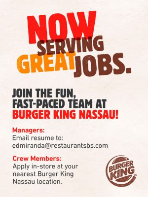 Job Opportunity from Burger King Nassau on My Deals Today